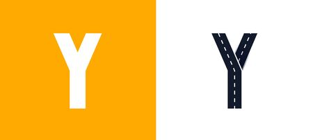 Letter Y. Road font. Typography vector design with street lines. On white and yellow background