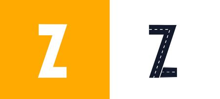 Letter Z. Road font. Typography vector design with street lines. On white and yellow background