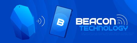 The Beacon Boom: Fitting Beacon Technology Banner Local SEO Strategy. Vector flat illuustration. Ilustração