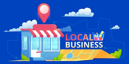 Local seo banner, Map and shop in realistic view. Vector flat illustration