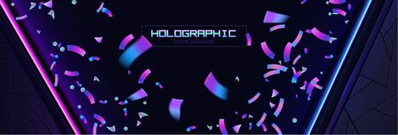 Confetti background colorful explosion. Holographic with Light Glitch Effect. Abstract vector illustration banner Иллюстрация