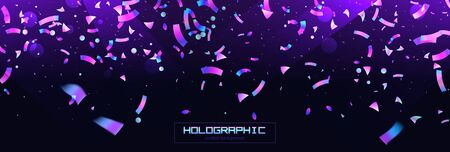 Confetti background colorful explosion. Holographic with Light Glitch Effect. Abstract vector illustration banner Ilustração