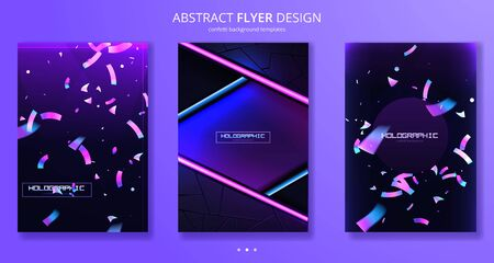 Confetti flyer background colorful explosion. Holographic with Light Glitch Effect. Abstract vector illustration banner Ilustração