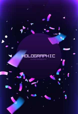 Confetti flyer background colorful explosion. Holographic with Light Glitch Effect. Abstract vector illustration banner Иллюстрация