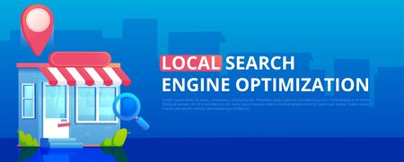 Local Search engine optimization banner, Store with geo pin. Vector flat illustration