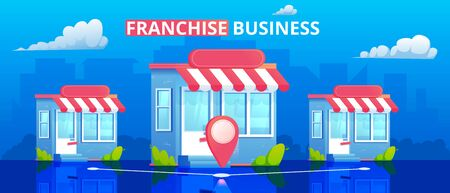 Franchise store vector illustration. Marketing network.Minimal flat banner with building and city on background