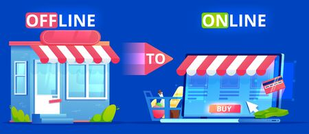 Offline to Online. Commerce Definition banner. Shop on site and shop in real life. Involve Seo Users. flat illustration.