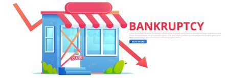 Closed bankruptcy store with falling arrow. Flat vector banner Ilustração