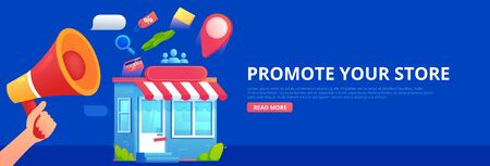 Promotion store. Hand with megaphone and seo icons. Vector flat banner. Ilustração