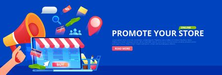 Promotion online store. Hand with megaphone and seo icons. Vector flat banner.