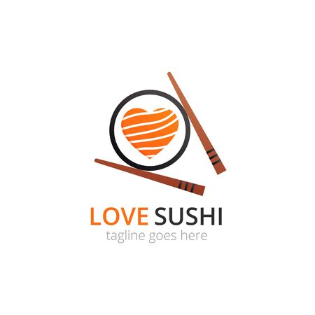Love sushi  . Roll with tuna in heart shape and chopsticks. Vector flat logotype design