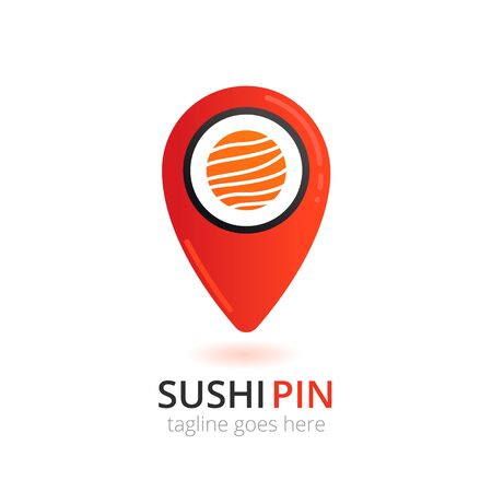 Sushi  in japanese style. Roll with fish in local pin shape. Logotype vector concept. Иллюстрация