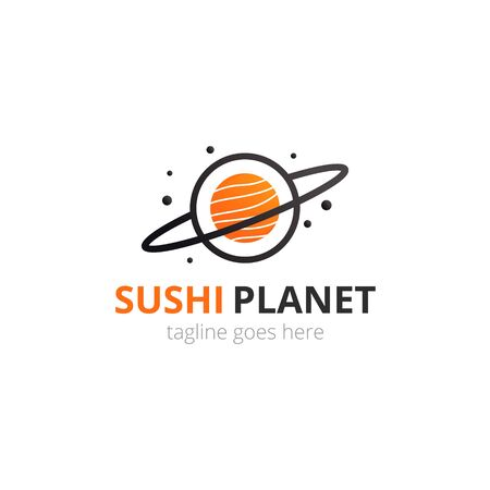 Sushi  in japanese style. Roll with fish in space planet shape. Logotype vector concept. Иллюстрация
