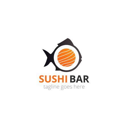 Japanese sushi for concept design with fish black shape. Asian food. Vector icon.