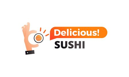 Japanese sushi sign for concept design. Roll in hand. Asian food. Vector icon.