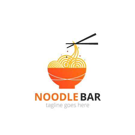 Noodle sign concept. Red bowl with chopsticks. Japanese template vector.