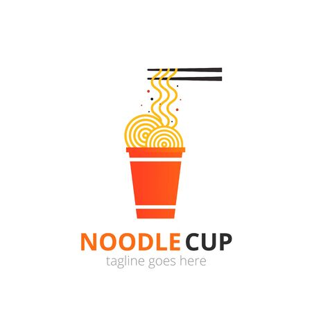 Noodle  concept. Red cup with chopsticks. Japanese template vector.