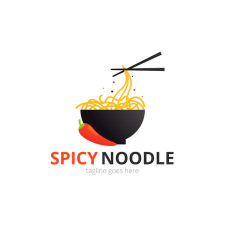 Spicy Noodle logo concept. Black bowl with chopsticks. Japanese template vector. Иллюстрация