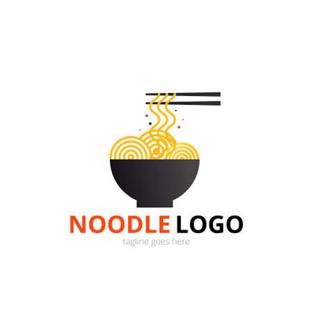 Noodle logo concept. Black bowl with chopsticks. Japanese template vector Illusztráció