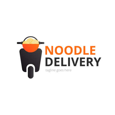 Noodle delivery logo concept. Red bowl with motorcycle. Japanese template vector.