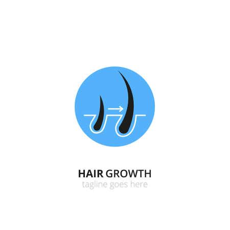 Hair growth, transplantation logo concept for design. Vector healthcare medicine icon