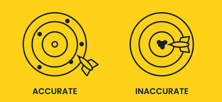 Antonyms with precision and imprecision, hitting the target. Yellow black flat vector banner.
