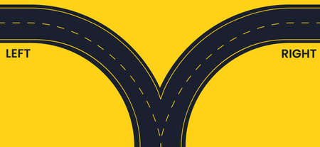 Left and right black road on a yellow background, top view. Antonyms vector banner