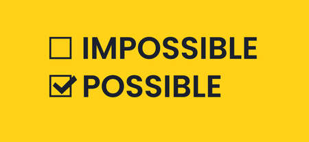 Possible and Impossible. List with a check mark in black on a yellow background. Antonyms vector banner Иллюстрация