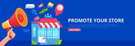 Promotion store. Hand with megaphone and seo icons. Vector flat banner. Иллюстрация
