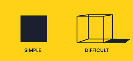Simple and difficult. Black square and cube on a yellow background. Antonyms vector banner. Иллюстрация