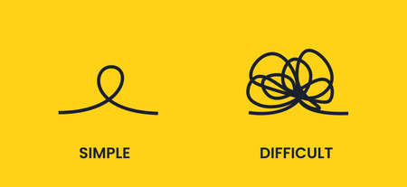 The knot from points. Simple or difficult way to success. Vector flat illustration. Иллюстрация