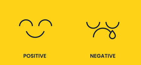 Positive and negative. Sad and cheerful emoticon face with a black smile on a yellow background. Antonyms vector banner.