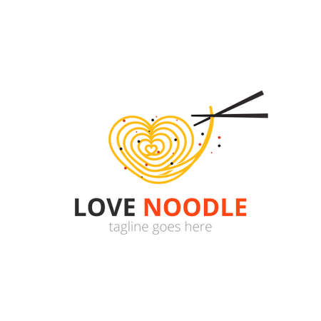 Love noodle  concept. spaghetti with chopsticks. Japanese template vector