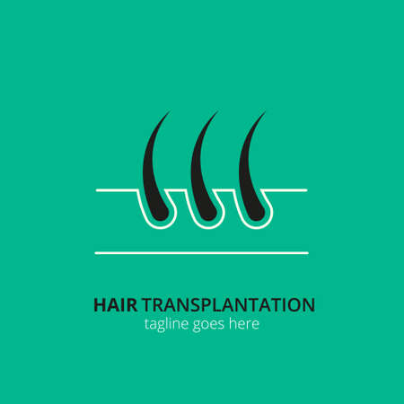 Hair transplantation  concept for design. Vector healthcare medicine icon