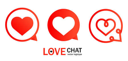Abstract illustration with red heart chat for app design. Talk bubble. Contact icon vector set.