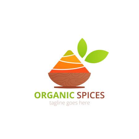 Organic Spices logo concept design. Food vector illustration. Healthy simple logotype