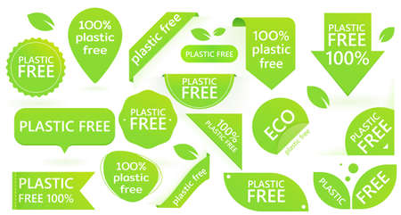 Green plastic free badge. Environment pollution. Template design.
