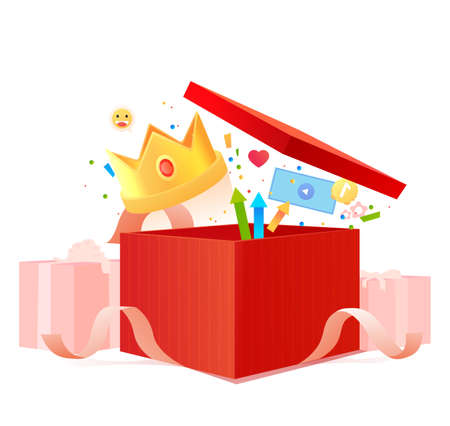Red gift box with ribbon. Bonuses money with earn points for the loyalty program. Vector illustration. Birthday concept. Surprise present.