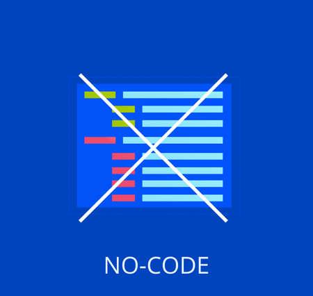 No code banner. Vector concept illustration. Иллюстрация