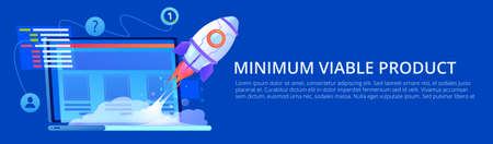 MVP concept banner. Minimum viable product. Vector cartoon illustration