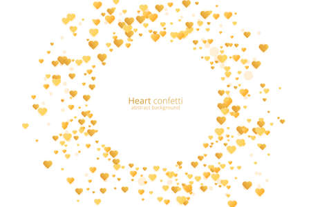 Vintage gold heart confetti, great design for any purposes. Golden glitter background. Vector banner