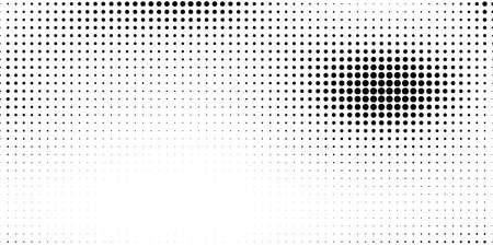 Halftone in abstract style. Geometric retro banner vector texture. Modern print. White and black background. Light effect.