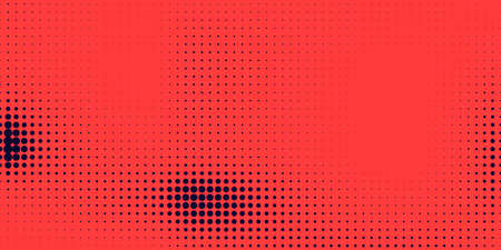 Halftone in abstract style. Geometric retro banner vector texture. Modern print. Dark blue and red background. Light effect