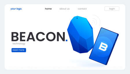 The Beacon Boom Fitting Beacon Technology Banner Local SEO Strategy. Vector flat illuustration