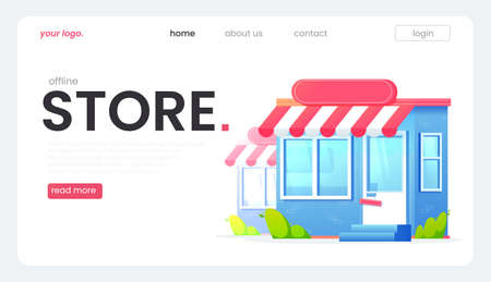 The online store landing page, great design for any purposes. Vector flat illustration