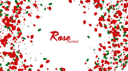 Rose confetti on white background. Ped flowers blossom. Romantic creative composition. Love concept.