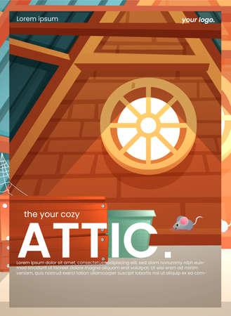 The attic flyer design. An old room interior for banner concept. A vector cartoon illustration Иллюстрация