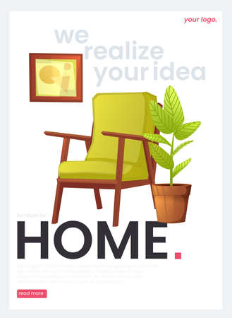 The flyer for a furniture store. The white banner with armchair and a plant and a picture in a frame. A vector cartoon illustration