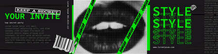 The discounts vector collage grunge banner. The halftone lips on black banner. The stylish modern advertising background design.