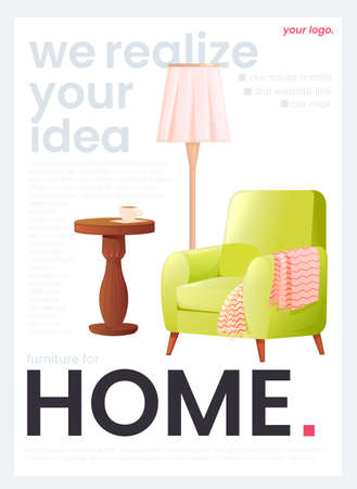 The flyer for a furniture store. The white banner with an armchair and a lamp and a coffee table with a cup of tea. A vector cartoon illustration.